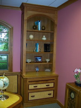Office suite bookcase with file drawers