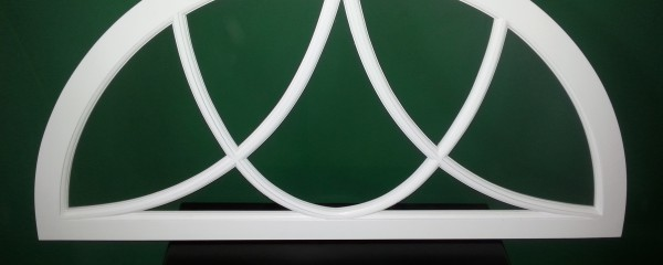 Arched top True Divided Lite Transom with curved mullions