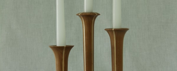 Candle stick set in cherry with maple accents