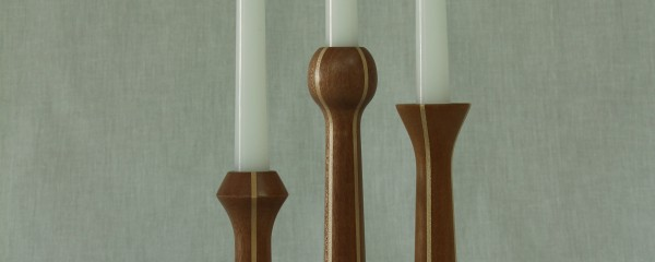 Candle stick set in mahogany with maple accents