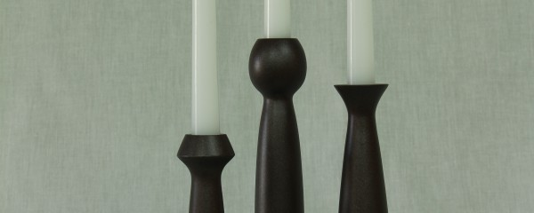 Candle stick set with metallic bronze finish